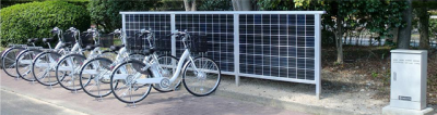 Electric bikes charging points using solar radiation