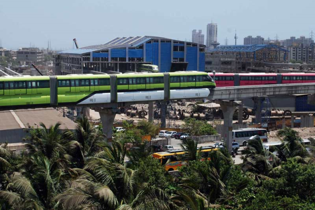 A newly operated Mumbai monorail,second in Asia; ready to ease the road traffic.