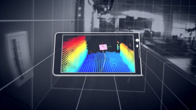 Project Tango by google it visualises space in 3D on the phone