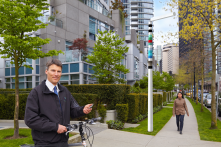 Vancouver artist and writer Douglas Coupland's concept for the V-Pole provides a networked hub for WiFi, LED lighting, EV power.