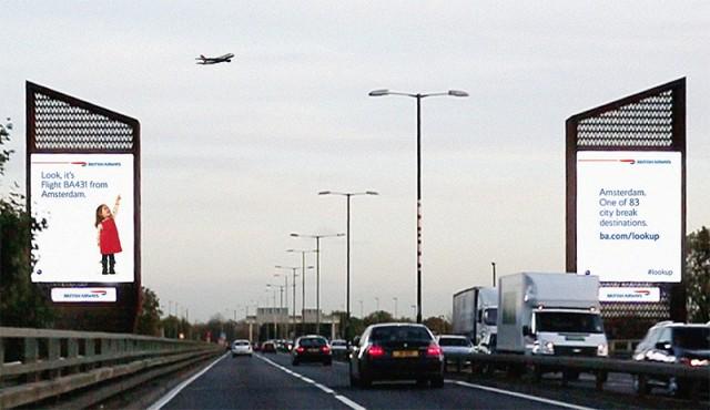 Interactive billboards display the destination or origin of airplanes overhead.