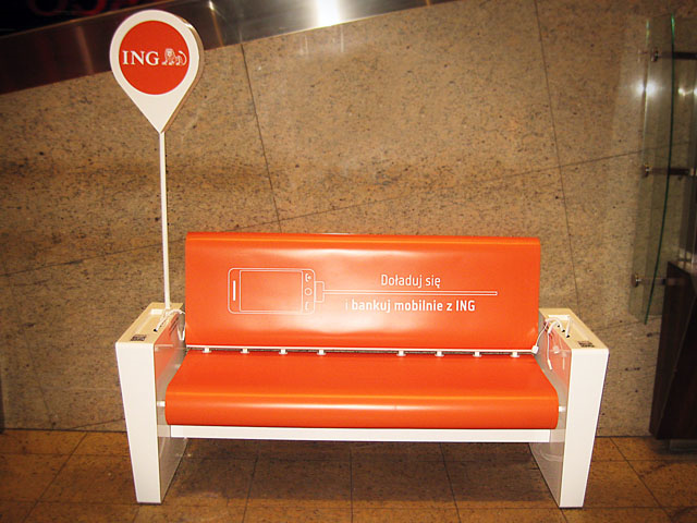 I found that pretty usefull. ING bank left a few charger benches on Silesian University of Technology, Poland.