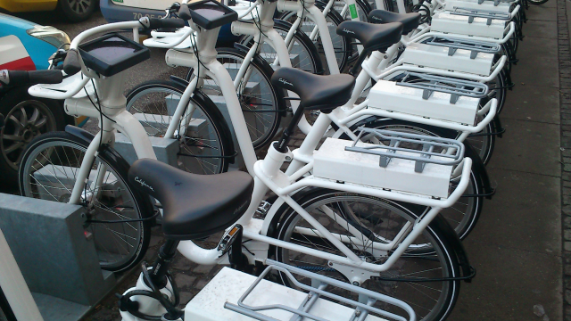 New electric bikes in Copenhagen. You can book them using a mobile phone.