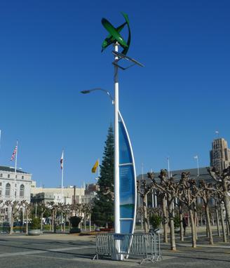 SANYA : Renewable energy powered street lamp having vertical axis wind turbine & solar panels for providing lightning.