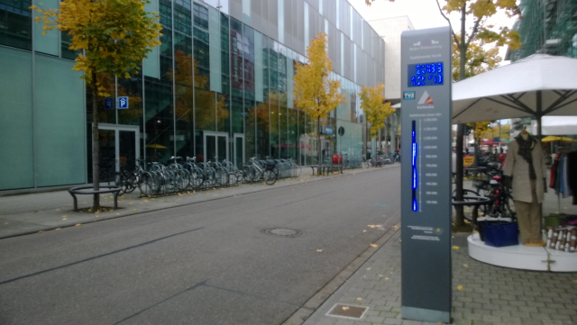Bicycle Counter, Karlsruhe Germany. Counts bicyclist riding past it & compares it against the yearly target.Engaging & Inspiring