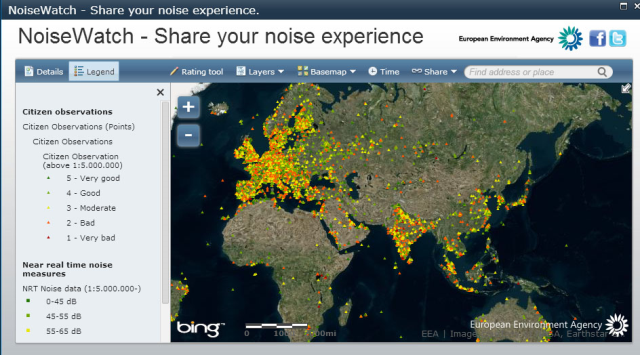 Noise Meter: A global noise map created based on inputs from recordings of individual smartphones: http://eyeonearth.org