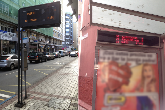 screen at bus stop which give information about what buses are coming, how long it takes to arrive, direction that takes the bus