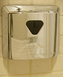 Wall-mounted sloan valve shower sensor.