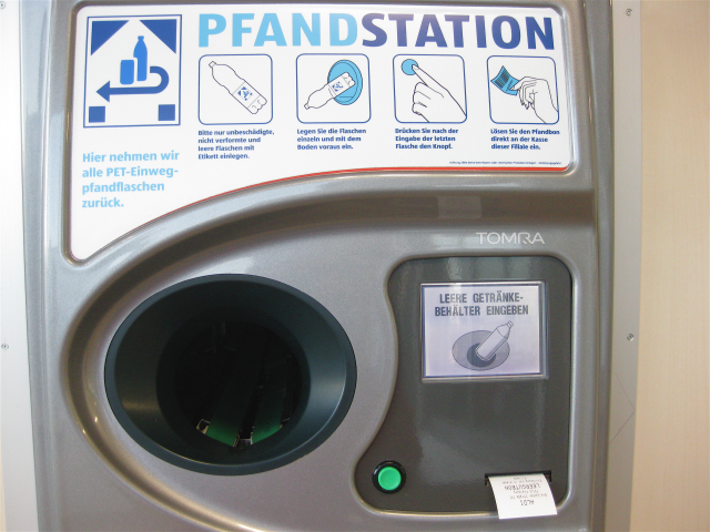 Sensors read the bar code on recyclable bottles and reward the recycle with money or shopping credit. V.popular in Germany.