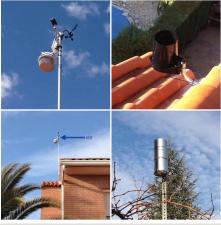 Davis Vantage Pro2 Wireless. La estación se compone de un anemómetro, una veleta, dos pluviómetros, un sensor radiación solar