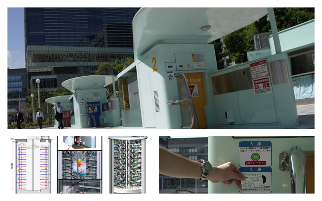 Tokyo. This city has a robotic underground parking for bicycles, which saves time and place in the city. http://goo.gl/KeFvsB