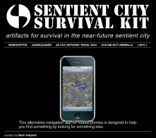 "survival.sentientcit<wbr/><span class=""wbr""></span>y.net<br/>An ironic critical project by Mark Shepard, playing with challenges and limits of SmartCities.<br/>(cc)"
