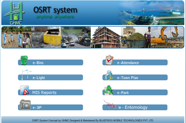 Off Site Real Time Monitoring System (OSRT) of Hyderabad used for monitoring waste bins, street lighting, parks, etc