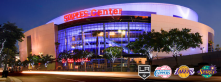 The Staples Center Arena depicts a vibrant light display.  Housed in Los Angeles, CA the SCA is a staple of the community.