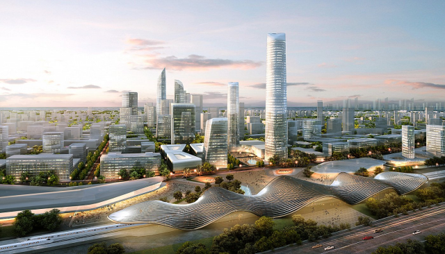 Beijing Bohai Innovation City is a model for an environmentally-enhanced city in the Beijing-Tianjin high speed rail corridor.