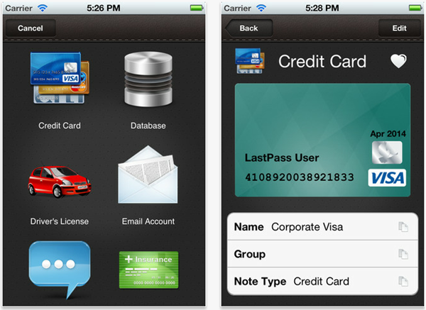 LP Wallet: App that helps you store the data you carry in your physical wallet. https://itunes.apple.com/us/app/lastpas