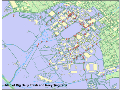 GIS map of on-campus Big Belly trash and recycling cans