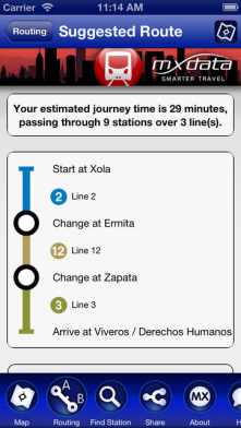 This app is called Mexico City Metro. It helps people get to know the Metro system better.