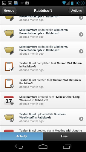 Clinked.com mobile collaboration appClinked. It allows people share files with others.
