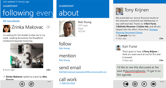 MS SharePoint works with tablets, phones and apps!!