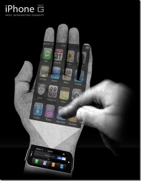 iPhone that illuminates onto your palm from a tiny screen on your glasses/sunglasses in any light.