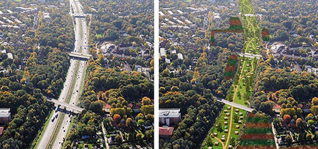 Hamburg is set to become car-free in 20 years. The post-oil model will convert roads into plans for 17,000 acres of park space.