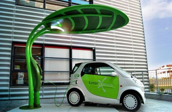 Using solar energy for charging hybrid car.