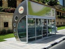Bus shelter in Dubai, the design includes air conditions enclosure with WiFi connection