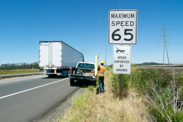 In California, these signs are placed on highways to ensure that there is safety and consequences from those who speed.