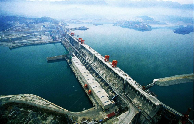 Three Gorges Dam in China. Largest dam is the world. It's main duties are flood control and hydro electric power generation.