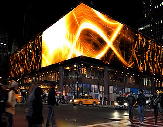"LED screens as ""covers"" for some buildings around the city makes them have different facades during an entire day."