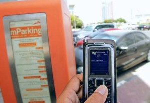 Pay for your parking by sending an sms to a number, rather than go through the hassle of putting coins in a meter. (@Dubai)