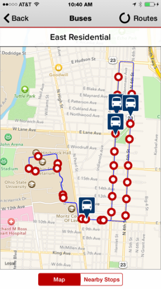 OSU's campus map's app, allows you to see bus routes, schedules, locations, and wait times for all the bus's on campus.