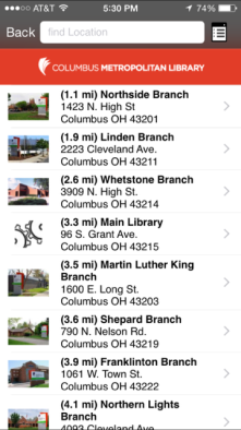 Columbus Library Mobile app for the Columbus Metropolitan Libraries describing locations and what books are available