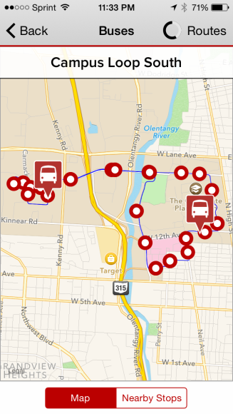 The Ohio State Bus System has a tracking feature within the OSU Mobile App. I use this everyday to go to class.