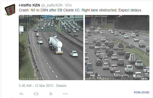 i-Traffic KZN on Twitter uses traffic camera's on the Durban, South Africa area to report live traffic incidents to commuters.