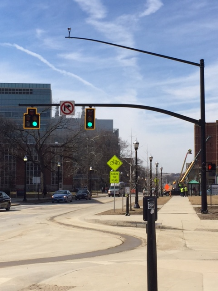This intersection helps sense traffic flow on campus of Ohio State.