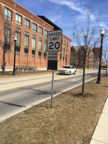 Radar sensors on a road on campus helps keep traffic to a reasonable speed by displaying the drivers speed.