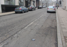 If you look close enough you will see small black circles - part of a trial of parking availability sensors in Birmingham (UK)