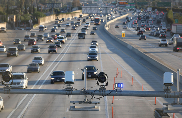 Sensors over the new toll road on Interstate 110 in Los Angeles