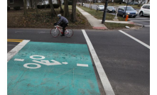 Milton Avenue&W. North Broadway, rides past a bike detector that prompts an eventual change of the trafic light to green