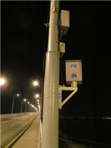 Speed camera on the bridge across the Volga river. Saratov, Russia