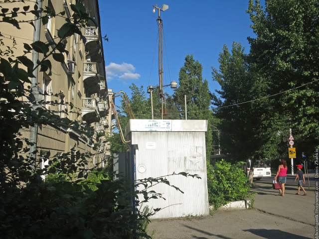 Very old, but still working air pollution sensor on the main street of Saratov city, Russia
