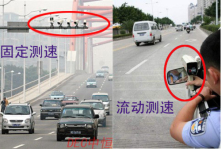 Two kinds of speed checking apparatus for vehicles. On the left is stationary one and right is mobile one.