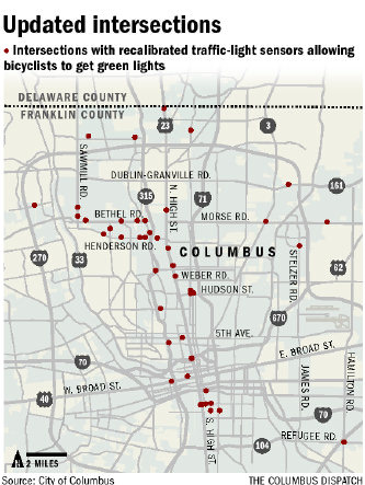 This photo maps out the intersections with sensors that help bicyclists to catch green lights
