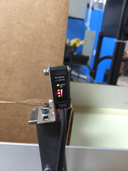 Proximity sensor that senses a box.