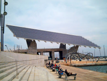 Solar power, clean energy powering Barcelona Spain..