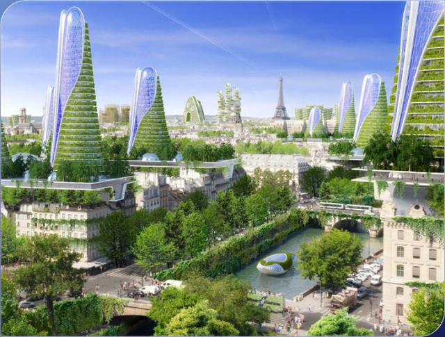 "View of the comprehensive city plan. Vincent Callebaut's 2050 Vision of Paris as a ""Smart City"""