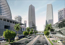 Eko atlantic city being built on reclaimed land adjacent to the Lagos barbeach coastline in Nigeria.