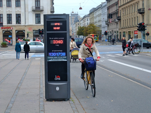 This is a relatively simple device in Copenhagen that monitors bicycle travel.  Shows the impact of biking and how it is growing